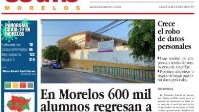 Photo of #Portada_Morelos En Morelos 600 mil alumnos regresan a clases #El_Universal