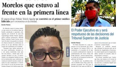 Photo of ⚡️🚨 #Portada_Morelos Muere médico de Morelos que estuvo al frente en la primera línea #El_Universal 🏥