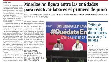 Photo of 🚨⚡️ #Portada_Morelos #Morelos no figura entre las entidades para reactivar labores el primero de #junio #El_Universal 🏥