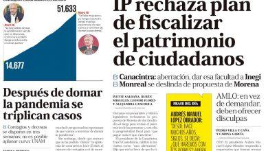 Photo of 🚨⚡️ #Portada_Nacional IP rechaza plan de fiscalizar el patrimonio de ciudadanos #El_Universal 🚨⚡️