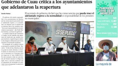 Photo of 🚨⚡️ #Portada_Morelos Gobierno de Cuau critica a los ayuntamientos que adelantaron la reapertura #El_Universal 🚨⚡️