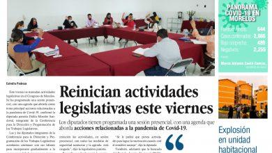 Photo of 🚨⚡️ #Portada_Morelos Reinician actividades legislativas este viernes #El_Universal 🚨⚡️🏥