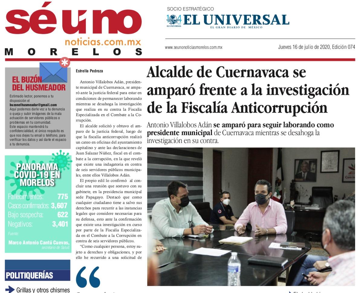 Photo of 🚨⚡️ #Portada_Morelos Alcalde de Cuernavaca se amparó frente a la investigación de la Fiscalía Anticorrupción #El_Universal 🚨⚡️