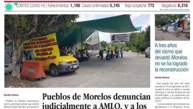 Photo of 🚨⚡️ #Portada_Morelos Pueblos de Morelos denuncian judicialmente a #AMLO, y a los directores de #CFE y #Conagua #EL_Universal 🚨⚡️
