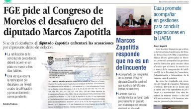 Photo of 🚨⚡️ #Portada_Morelos FGE pide al Congreso de Morelos el desafuero del diputado Marcos Zapotitla #El_Universal 🚨⚡️