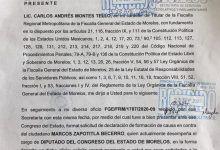 Photo of FGE pide al Congreso de Morelos el desafuero del diputado Marcos Zapotitla