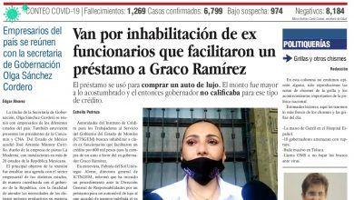 Photo of 🚨⚡️#Portada_Morelos Van por inhabilitación de ex funcionarios que facilitaron un préstamo a Graco Ramírez #El_Universal 🚨⚡️